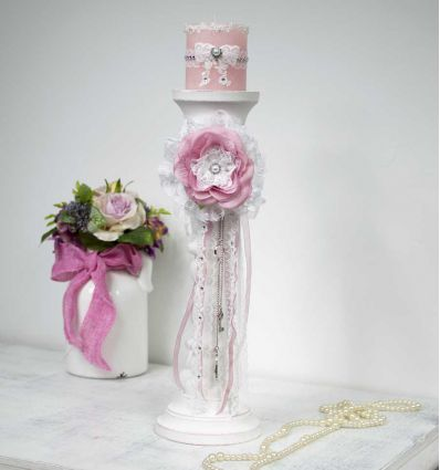 Le grand bougeoir shabby chic et sa bougie