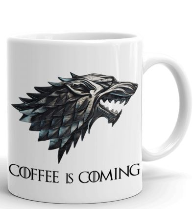 Tasse-Mug Parodie Game Of Thrones -Coffee Is Coming - Bouclier de la Maison Stark - Idée Cadeau Humour Original