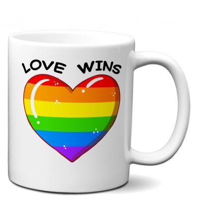 Tasse-Mug Cadeau LGBT Gay - Love Wins - Coeur Arc en Ciel Gay Pride Amour Universel Couple